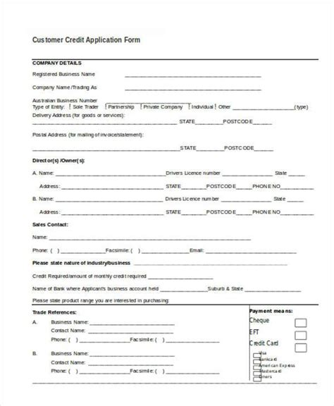 Credit Application Form In Word application form in word