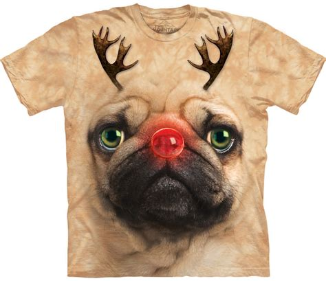 with pug shirt pug reindeer t shirt the mountain ebay