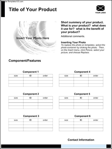 sle product sheet template sle templates
