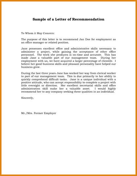 Reference Letter Format For New Employment recommendation letter for letter format template