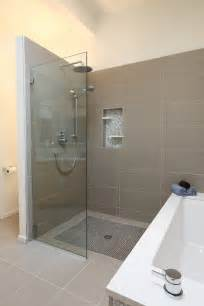 Head system bathroom midcentury with bamboo cabinet bathroom tile