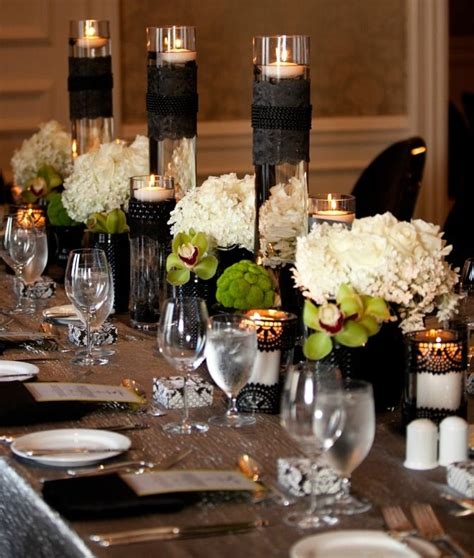 beautiful black and white centerpieces black lace white