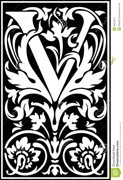 flowers decorative letter v balck and white stock images