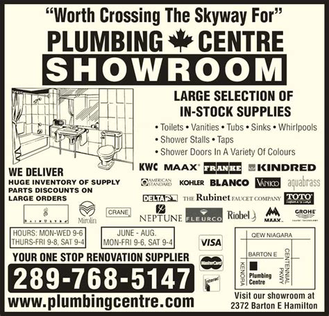 Plumbing Supplies Ontario by Plumbing Centre Opening Hours 2372 Barton St E