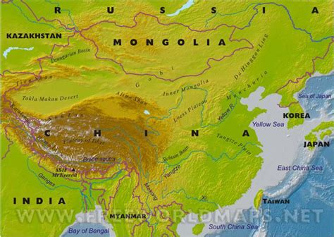 east asia physical map the s republic of china loicz east asia node