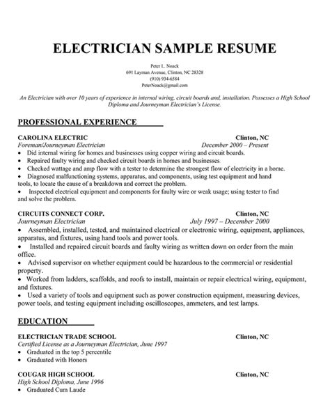 Resume For Electrician by Electrician Resume Sles Sle Resumes