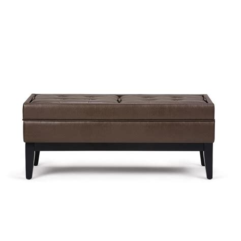 Large Storage Ottoman Bench Simpli Home Castlerock Chocolate Brown Large Storage Ottoman Bench 3axcot 243 Cbr The Home Depot