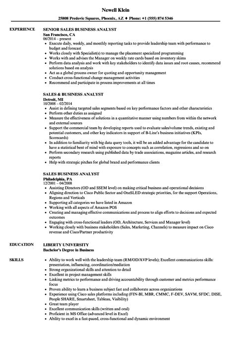 Resume Sles For Business Analyst by Sales Business Analyst Resume Sles Velvet