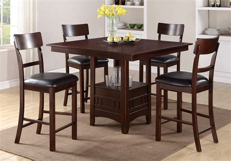 Counter Height Dining Table With Lazy Susan Modern 5 Pcs Counter Height Dining Set Built In Lazy Susan Table Padded Chairs Ebay