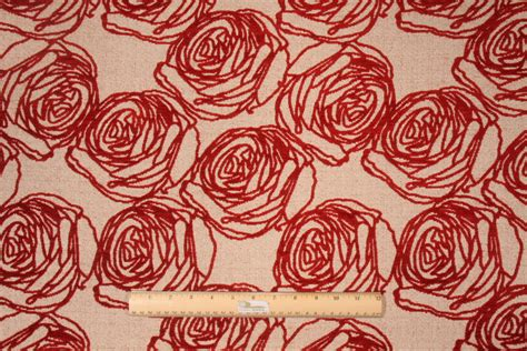 Poppy Upholstery Fabric by M9181 5477 Chenille Tapestry Upholstery Fabric In Poppy