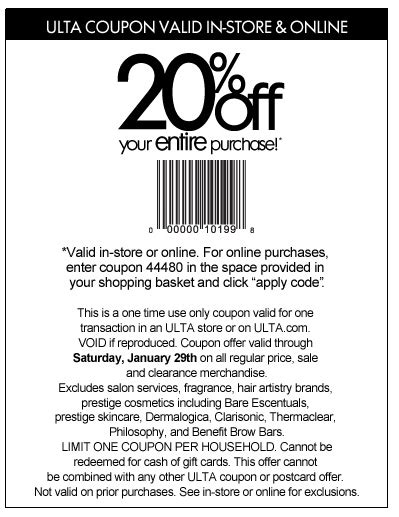 printable ulta coupon 20 off entire purchase alicias deals in az ulta 20 off your entire purchase