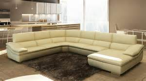 Italian Sectional Sofa Divani Casa 782c Modern Beige Italian Leather Sectional Sofa