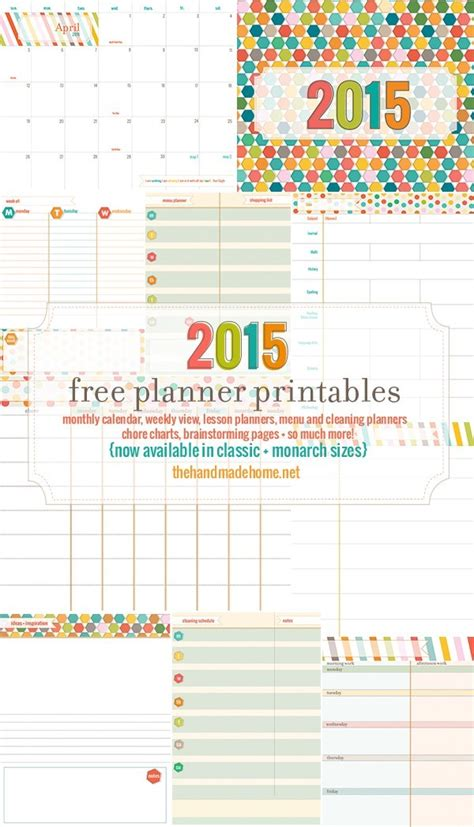 printable planner calendar 2015 free planner and calendar more 2015 the handmade home