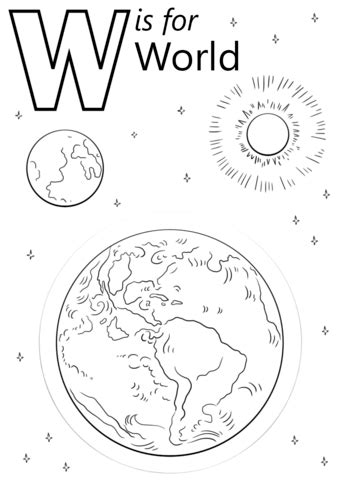 coloring page of letter w letter w is for world coloring page free printable