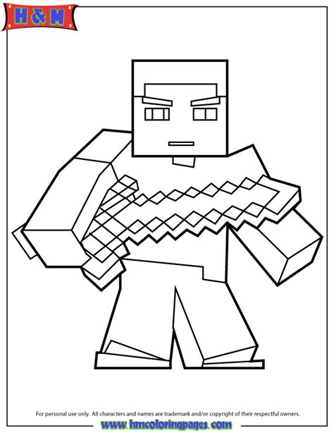 herobrine with sword coloring page h m coloring pages