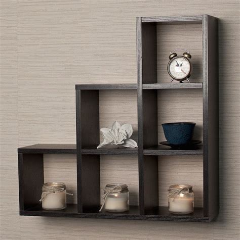 black wood wall shelves display contemporary home decor