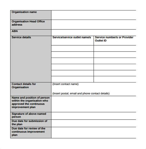 Improvement Template sle improvement plan template 13 free documents