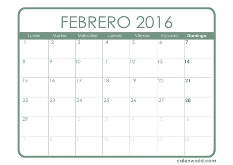 Calendario Febrero 2016 Calendario Febrero 2016 Calendar Template 2016