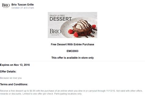 brio coupon code brio tuscan grille coupons 20 off online orders at