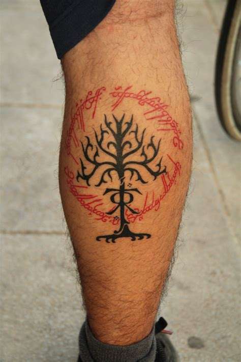 lotr tattoo lord of the rings theme leg tattoomagz
