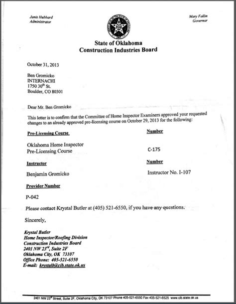 license certification letter how to become a certified home inspector in oklahoma