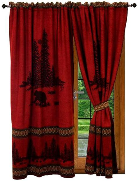 cabin curtains wooded cabin bear red curtains set