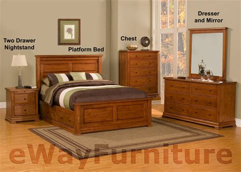 Traditional Cherry Bedroom Furniture Traditional Solid Cherry Platform Storage Bedroom Set