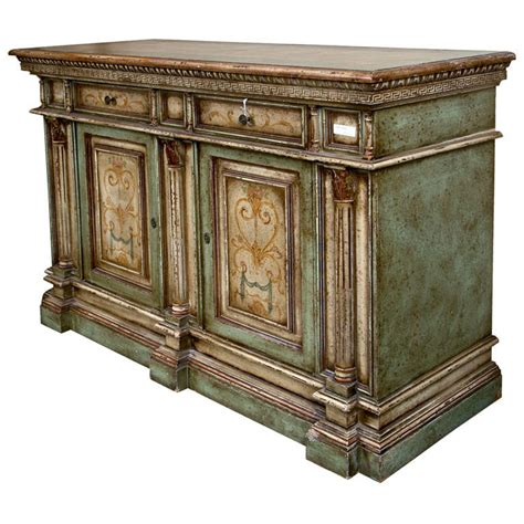 Italian Painted Credenza Cabinet at 1stdibs