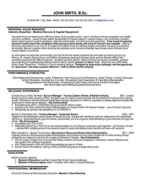 Sales Manager Resume Exles by Regional Sales Manager Resume Template Premium Resume Sles Exle