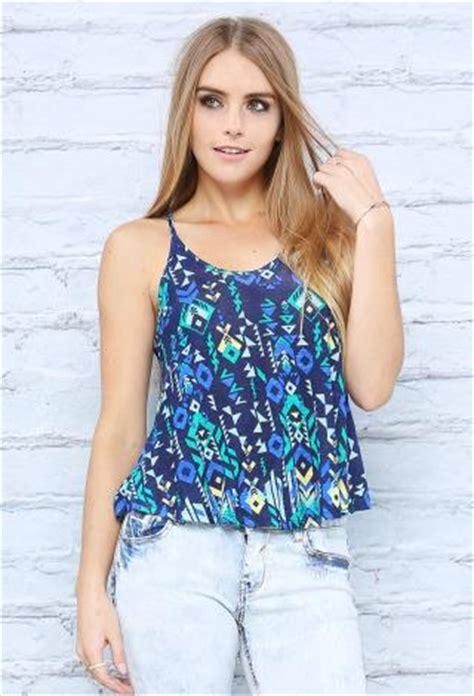 y back geo print cami top | shop under $10! at papaya clothing