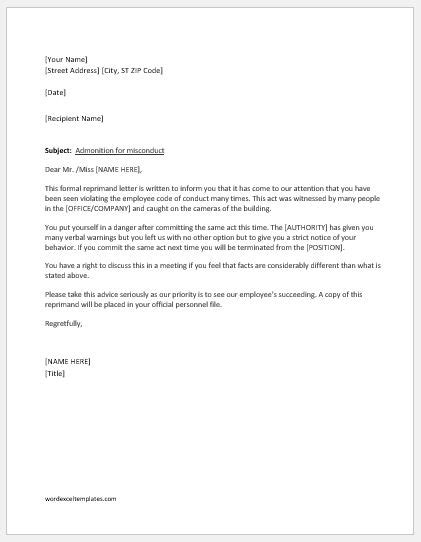letter of reprimand template reprimand letter writing guide with sle template word