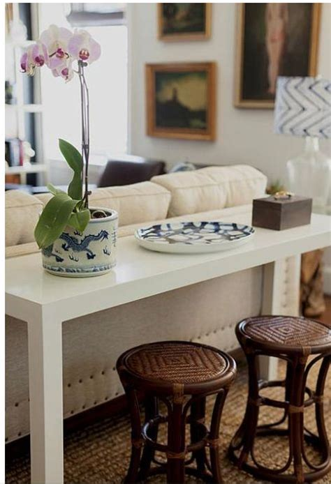 breakfast bar sofa parsons table sofa stools beneath living room