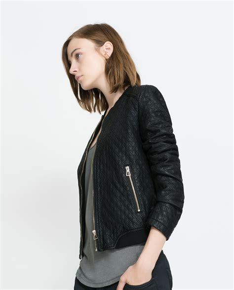 Jual Leather Jacket Zara zara faux leather bomber jacket in black lyst