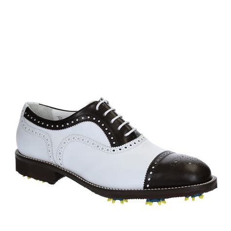 Handmade Leather Golf Shoes - handmade golf shoes white brown leather cap toe