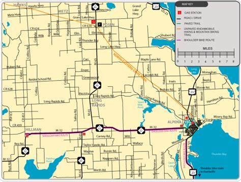 Alpena Michigan Map by Alpena Michigan Maps Bike Routes Trails Parks