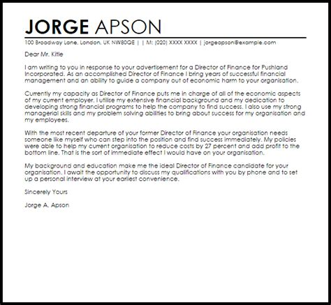 director finance cover letter sample cover letter