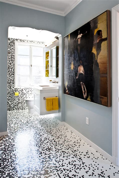 Bathroom Mosaic Tiles | pixilated bathroom design made with custom mosaic tile