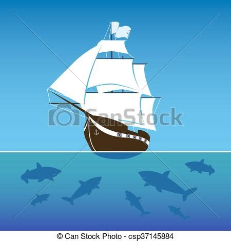 sinking boat surrounded by sharks sailing ship surrounded by sharks in the sea vector