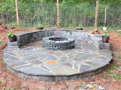 diy stone veneer fire pit patio