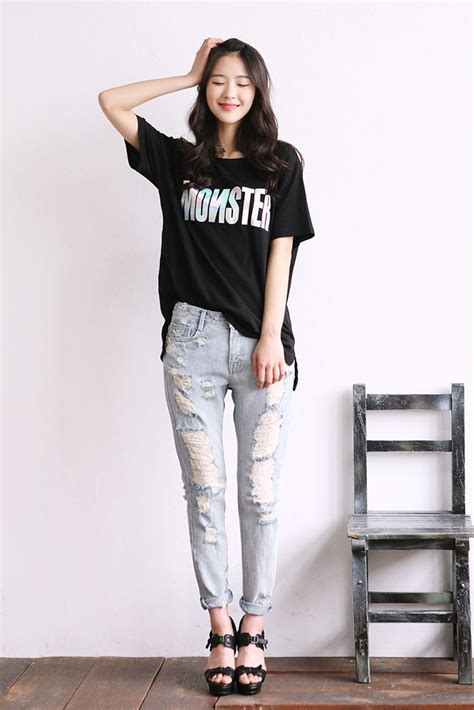 damage semi baggy pants korean fashion korean fashion