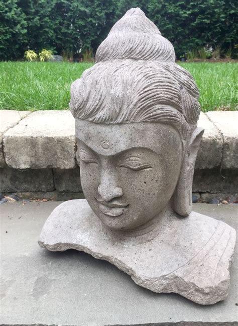 carved lava buddha japanese garden statue