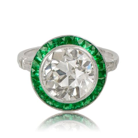 engagement ring with emerald halo estate jewelry