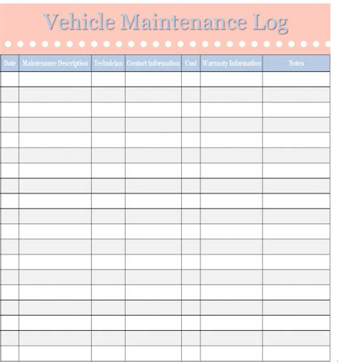 maintenance log template 6 maintenance log template procedure template sle