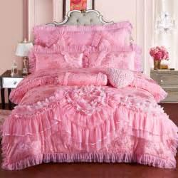 Bridal Bed Sets Princess Lace Bedding Set King Size Silk Cotton Lace Luxury Stain Bed Set 4 8pcs