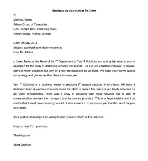 Sle Apology Letter To The Client Free Business Letter Format Template