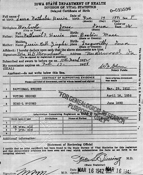 Harris County Birth Certificate Records Zigler Genealogical Notes Documents And Photographs