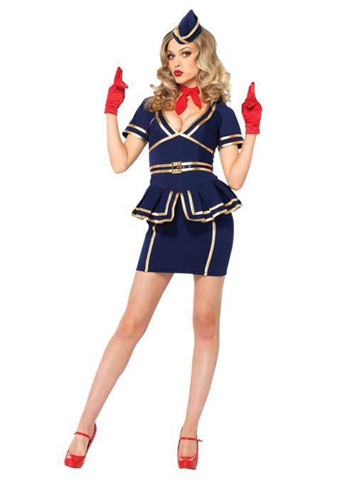 Cho Co Stewardess Pramugari Haloween friendly skies flight attendant costume