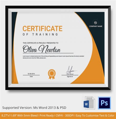 certificate layout word training certificate template 14 free word pdf psd