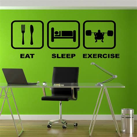 home gym wall decor free shipping eat sleep exercise gym fitness vinyl sticker