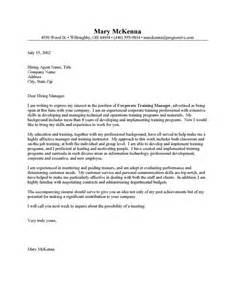 Corporate Trainer Cover Letter covering letter for course covering letter exle